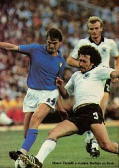 Italy 3 West Germany 1 in 1982 in Madrid. Paul Breitner puts in a tackle on Antonio Cabrini in the World Cup Final.
