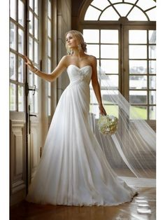 A Line Sweetheart Applique Lace Up Chiffon Wedding Dress