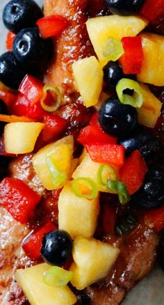 Sweet and Spicy Asian Salmon with Blueberry Pineapple Salsa