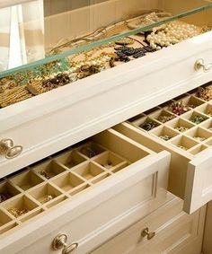 glass case and drawer jewelry organization: Lucky Magazine