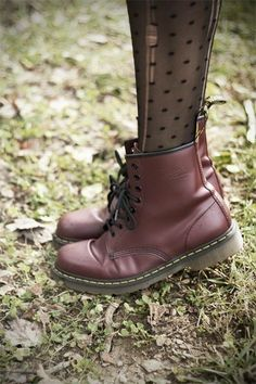 Polka Dot Tights and Doc Martens.<<<<<I want a pair of Doc/Dr martens so bad it's not real. Dr Shoes, Crazy Shoes, Sock Shoes, Cute Shoes, Me Too Shoes, Shoe Boots, Shoes Heels, Shoe Bag, Shoes Sneakers