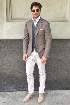 Monday!! Brown and White. Men's style. Men's outfit.