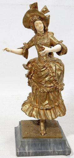 """GEORGES OMERTH, BRONZE & IVORY SCULPTURE, H 10 1/2"""", W 5"""": Ivory arms and face; golden patina; signed; gray marble base"""