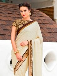 Beautiful Chiffon Satin Patch Border Work Designer Saree