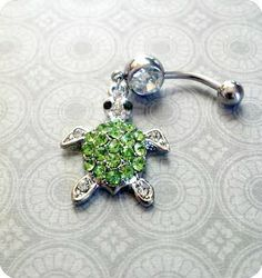 Rhinestone Turtle Belly Button Ring by SassyRiley on Etsy Bellybutton Piercings, Piercing Ring, Body Piercings, Peircings, Piercing Ideas, Tongue Piercings, Belly Button Jewelry, Belly Button Rings, Cute Jewelry