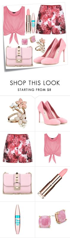 """""""Pretty in Pink"""" by glitterunicorns-are-awesome ❤ liked on Polyvore featuring Post-It, Accessorize, Miu Miu, Moncler Gamme Rouge, New Look, Valentino, Maybelline and Kate Spade"""
