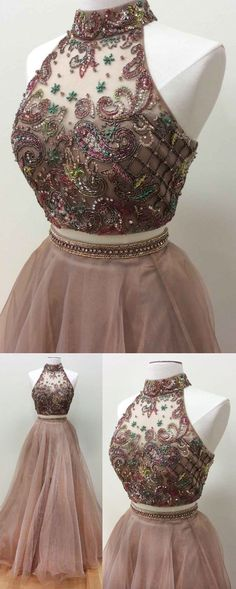 sparkly two piece prom dress, 2018 long prom dress, champagne long prom dress, formal evening dress party dress