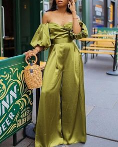 Solid Color Off Shoulder Puff Sleeve Wide Leg Jumpsuits – canalwiki Off Shoulder Jumpsuit, Jumpsuit With Sleeves, Vestidos Vintage, Looks Chic, Mode Outfits, Classy Outfits, Jumpsuits For Women, Fashion Dresses, Clothes For Women