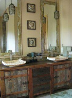 vanity chairs for bathroom | Bathroom Furniture, Rustic Vanities, Barnwood Vanity, Hammered Copper ...