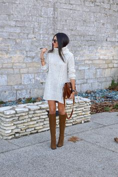 fall / winter style - chunky knit sweater dress, tall suede boots