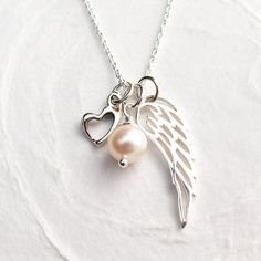 Miscarriage Necklace Angel Wing with Heart Pearl by BlissInArt
