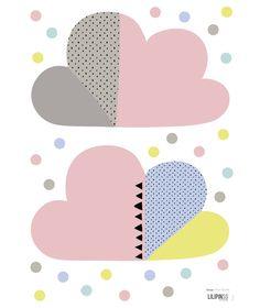 vinilo pared infantil nubes