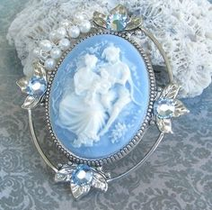 blue and white cameo..