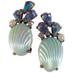 $325 Elsa Schiaparelli Earrings Blue Shell Clip-Ons