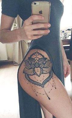 Women's Creative Lotus Thigh Tattoo Idthigh tatooeas - Lace Chandelier Black Henna Hip Tat - ideas creativas del tatuaje del muslo del loto geométrico - www.MyBodiArt.com #TattooIdeasMeaningful