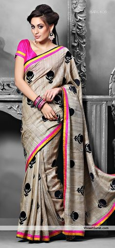 Cream And Pink Color Resham Embrodried Fabrics Saree  ||    Style: Designer Saree occasion: Party, Festival fabric: Art Silk color: Beige Catalog No.: 1135 work: Embroidered, Resham  ||