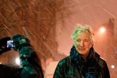 Alan Rickman posing for a fan under the snow storm. Stage door session after the performance of Ibsen's John Gabriel Borkman at the Brooklyn Academy of Music, January 11th 2011.