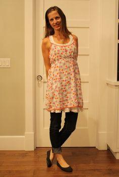 wiww.  layered dress over jeans. pleatedpoppy.