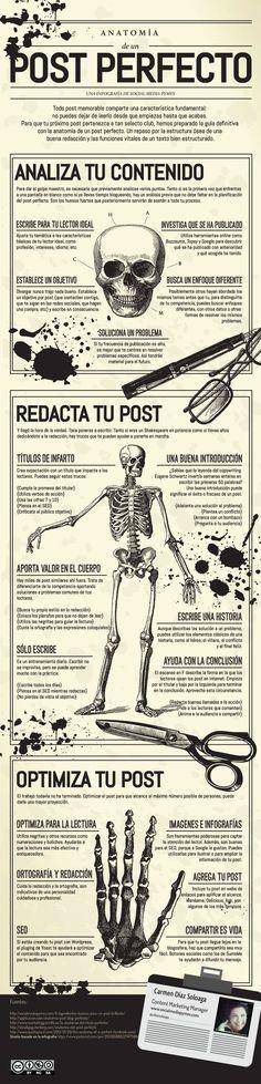 Anatomía de un post perfecto. Infografía en español. #CommunityManager