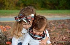 Brother sister matching in their adorable plaid items! Headwraps and scarves can be ordered now!!! MAD ABOUT PLAID!