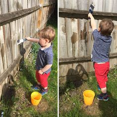"Keep Your Toddler Busy By Letting Them Paint The Fence With Water. ""Here, help me stain this fence"". - Imgur"