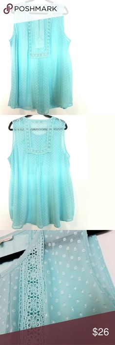 """Daniel Rainn 3X Aqua Blue Swiss Dot Blouse w/Lace This beautiful Daniel Rainn 3X Aqua Blue Swiss Dot Blouse w/Lace is in great used condition. Semi-sheer, best over cami. Bust measures 27"""" across laying flat measured from pit to pit so 54"""" around. No stretch. 100% polyester. Unlined. 31.5"""" long. ::: Bundle and save! ::: No trades. Daniel Rainn Tops"""
