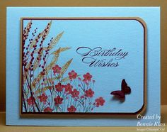 Fall Meadow  Stamps: Autumn Days, Itty Bitty Bits, Bring on the Cake  Paper: Naturals White  Ink: Cherry Cobbler, More Mustard, Calypso Coral  Accessories: Beautiful Wings Embosslit, Corner Rounder Punch