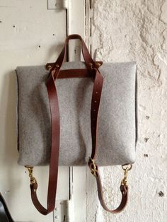 felt and leather briefcase rucksack by fluxproductions on Etsy, $320.00