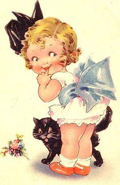 Sweet little girl vintage graphic.
