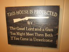"Primitive Decor Wood Sign ""This House Is Protected by --love this sign!!"