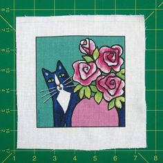 Tuxedo Cat Art Quilt Block Fabric Craft by SusanFayePetProjects, $3.50
