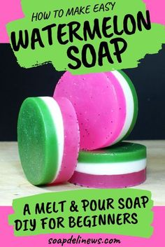 Watermelon soap recipe. Learn how to make DIY watermelon soap with no lye using melt and pour soap making bases. This fun pink, green and white watermelon soap recipe is made with cosmetic glitter and melt and pour glycerin soap. A fun summer soap making project for adults, teens and tweens. A family favorite soap making activity to craft with the kids. Easy beginner adult crafts for summertime fun. Learn how to make soap the easy way with this DIY watermelon soap making tutorial. #soaprecipe