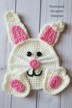 Crochet Bunny Applique PATTERN ONLY Easter rabbit blanket scarf basket bag large embellishment baby child children holiday Spring Easter Crochet, Crochet Bunny, Crochet Motif, Crochet Animals, Crochet Crafts, Crochet Flowers, Free Crochet, Crochet Projects, Crochet Patterns