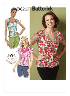 69ec8c88d55f0 Butterick 6217 by Gertie  Misses  loose-fitting blouse has front button-down
