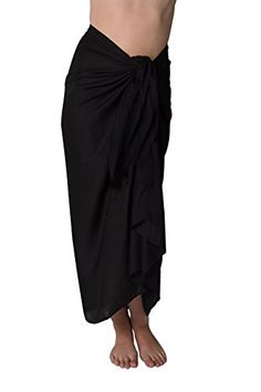 1941bb2ec6287 Long Swimsuit Sarong Cover up in Black Simple Edge Without Fringe    See  this great