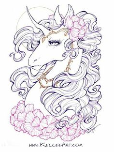 Unicorn Unicorn Books, Unicorn Art, Unicorn Fantasy, Fantasy Art, Animal Drawings, Art Drawings, Coloring Books, Coloring Pages, Unicorn Tattoos