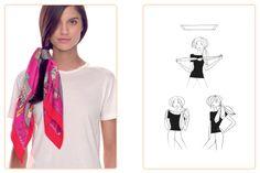 Ce nouage «Ponytail» est réalisable avec un carré : 45x45 cm • 70x70 cm • 90x90 cm. Jouez avec votre carré Hermès avec l'application Silk Knots! #Hermes #Silk #SilkKnots