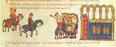 entry of Nikephoros II Phokas, proclaimed as Byzantine emperor by his troops, into Constantinople through the Golden Gate in Miniature from the Skylitzes Chronicle (Cod. folio and Konstantinos fol. Ancient Greek City, Byzantine Art, Roman Emperor, Medieval Times, Grand Entrance, 15th Century, Golden Gate, Art History, Empire