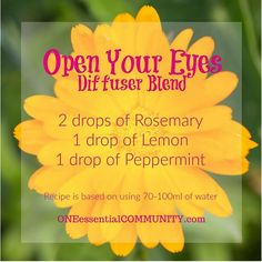 open your eyes diffuser blend with rosemary, lemon, and peppermint-- I use this blend most often in the morning as it is great for energizing and invigorating! It is a great blend to use to help you get pumped and focused for the day! Peppermint and orange are an awesome powerhouse for giving you an energy boost!