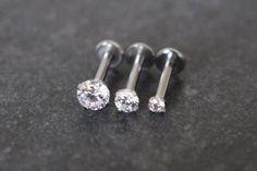 Swarovski Crystal 16G Tragus Piercing, Cartilage Earring, Helix Stud, Triple Forward Helix Piercing, Conch Earring, Labret Stud, Philtrium Stud, Monroe Piercing, Internally Threaded Silver Jewelry