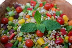 farro and green peas salad closeup