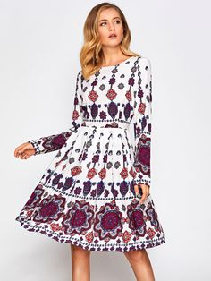 Shop Ornate Print Box Pleated Fit & Flare Dress online. SheIn offers Ornate Print Box Pleated Fit & Flare Dress & more to fit your fashionable needs.