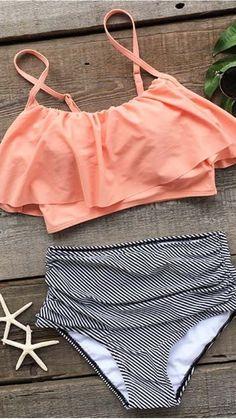 Seaside Gale Falbala High-waisted Bikini Set