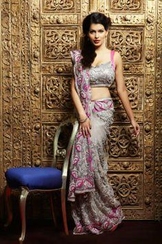 Rarely used color combination Grey  Pink #saree #sari #blouse #indian #outfit  #shaadi #bridal #fashion #style #desi #designer #wedding #gorgeous #beautiful