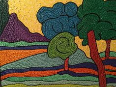"""STEPHEN SLOMKO (AMER 1929-2013 )""""TREE LANDSCAPE"""" IMPASTO OIL ARTIST SELF FRAMED"""