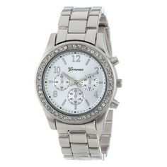 Sanwony Faux Chronograph Quartz Plated Classic Round Ladies Women Crystals Watch