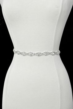 Ready To Ship - Rhinestone encrusted bridal belt, Crystal Belt, Bridal Sash. $41.00, via Etsy.