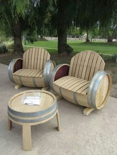 Wine barrel chairs..great for my yard:)