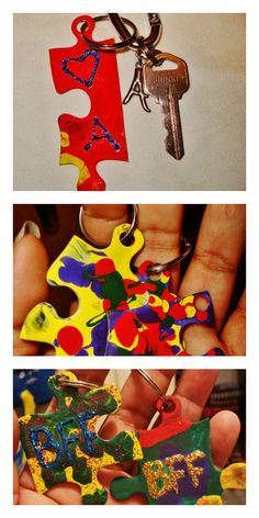 Puzzles with missing pieces??? Decorate them and make fun key chains :)    https://www.facebook.com/photo.php?fbid=619566864740072=a.565419626821463.145026.565415993488493=1_count=1