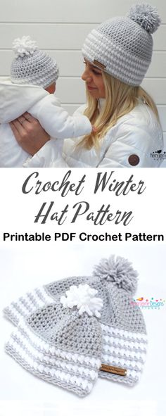 Winter Hat Crochet Patterns - A More Crafty Life Crochet Adult Hat, Crochet Winter Hats, Crochet Beanie, Knitted Hats, Finger Crochet, Wire Crochet, Crochet Mat, Crochet Headband Pattern, Crochet Patterns